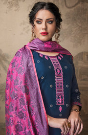 Jam Silk Cotton Foil Print With Banarasi Dupatta