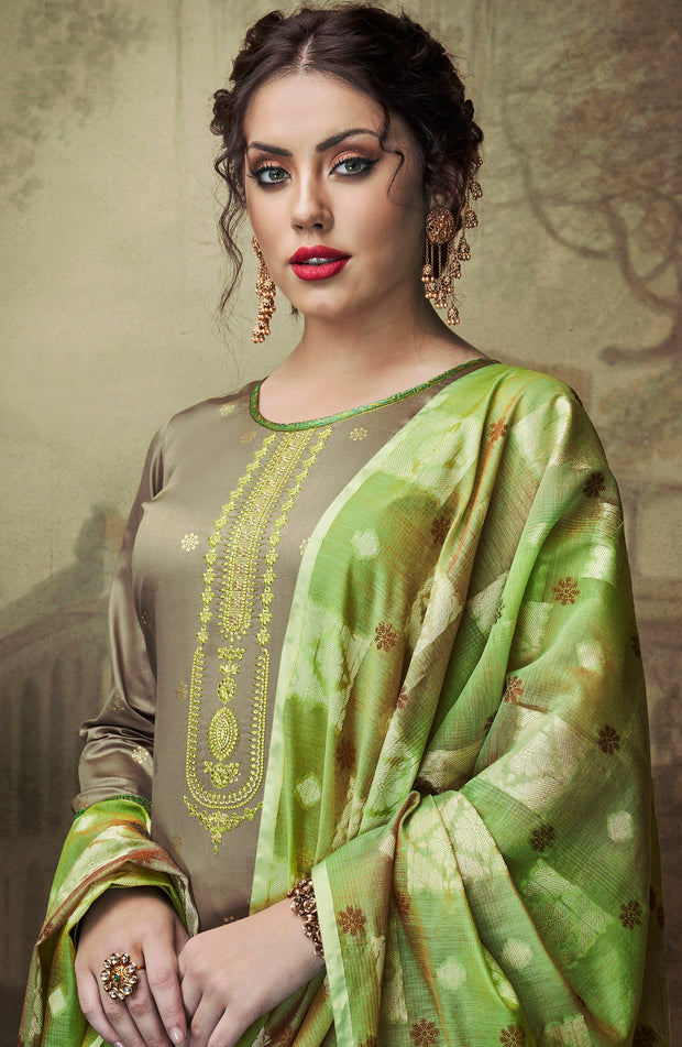 Cotton Silk Foil With Embd Top And Banarasi Silk Dupatta