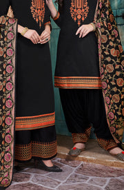 Classic Black Chanderi Top With Banarasi Silk Dupatta