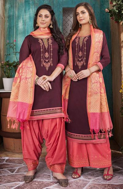 Trendy Chanderi Embd Top With Banarasi Silk Dupatta