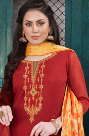 Ethnic Chanderi Silk Top With Banarasi Silk Dupatta