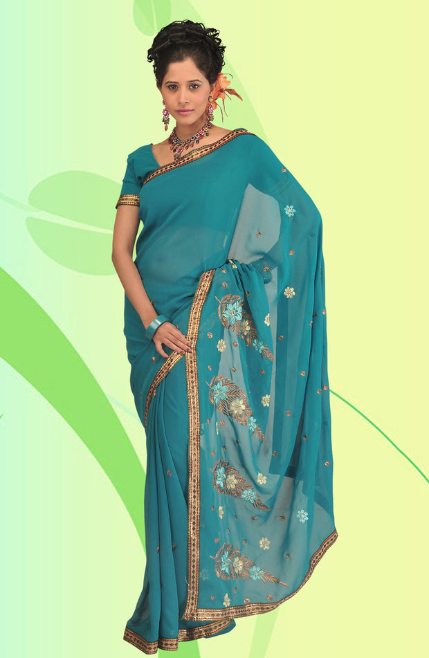 COPPER ZARI WORK CHIFFON SAREE