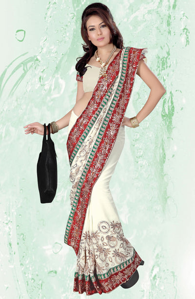 TRADITIONAL PANETAR EMBROIDERED SAREE