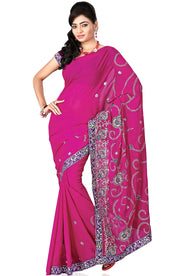 COPPER EMBD CHIFFON SAREE