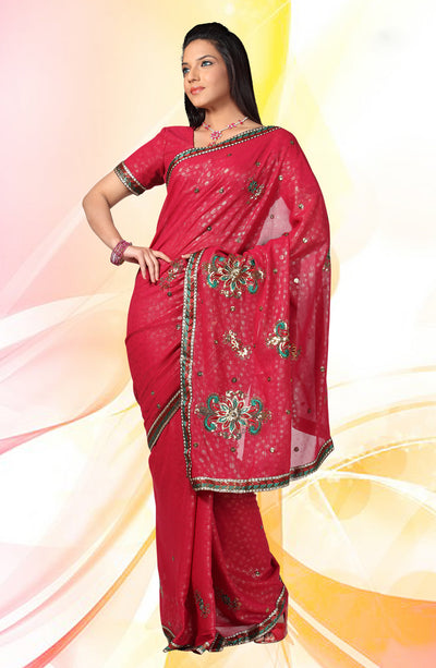 COPPER EMBROIDERED CHIFFON SAREE