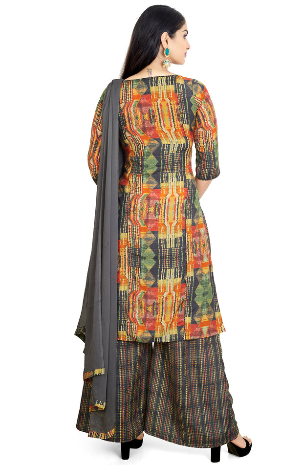 Multi Colour Soft Silk Palazzo Set