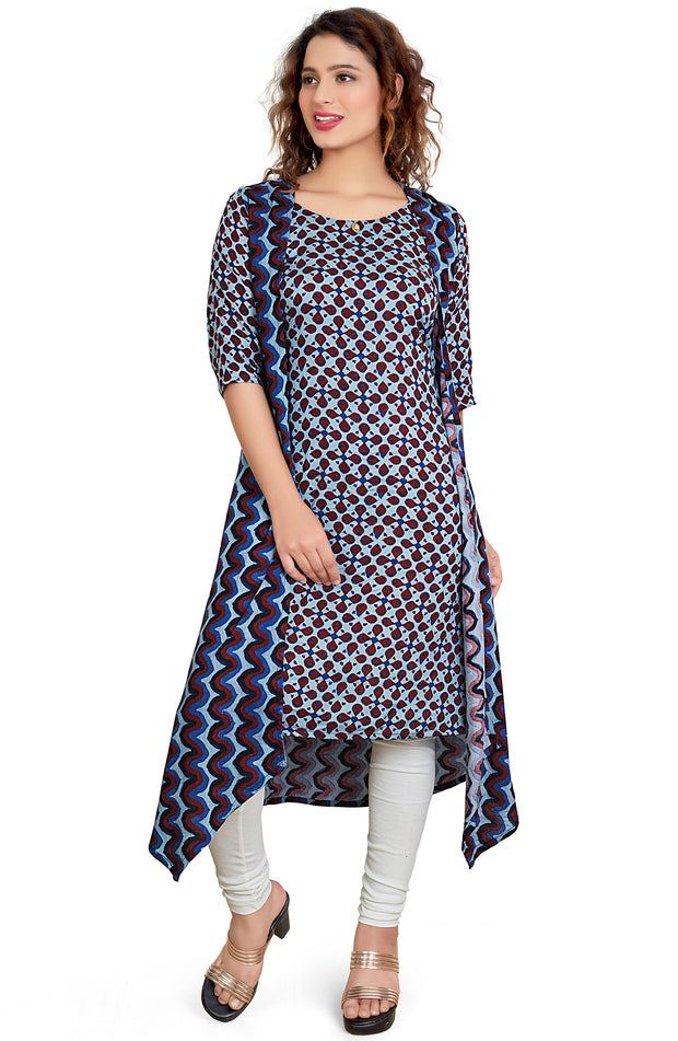 Denim Blue Block Printed Kurti With Jacket