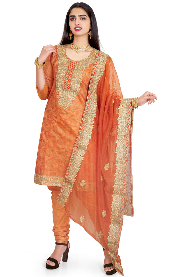 Foiled Printed Embroidered Organza Churidar Set