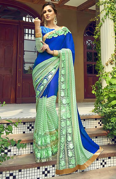 Georgette And Chaitely Net Skirt Border Saree
