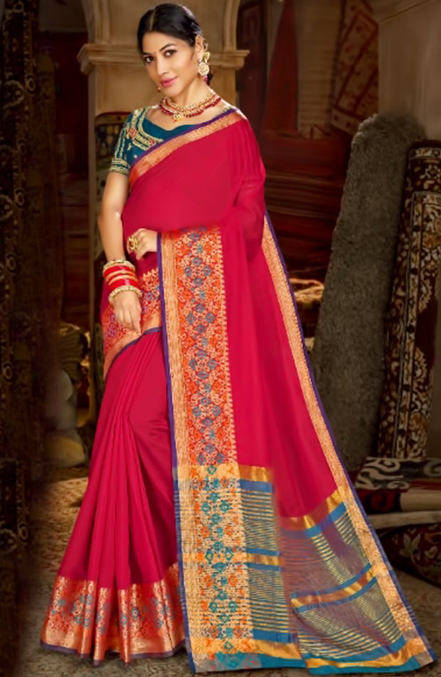 Timeless Red Cotton Saree With Weaved Border And Pallu