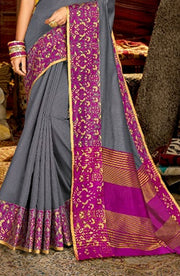 Elegant Cotton Grey Saree With Woven  Border And Pallu
