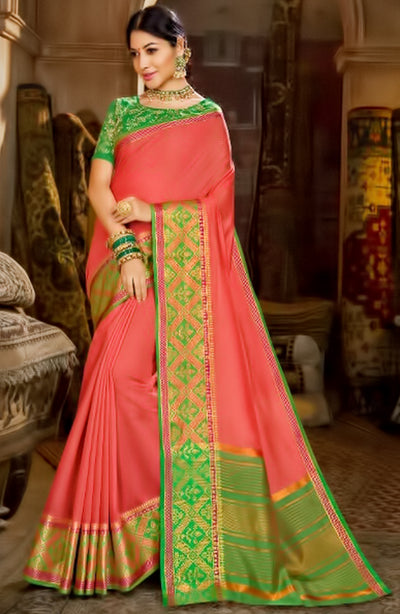 Contrast Weaved Border On Cotton Saree