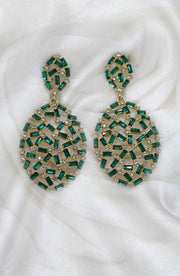 Green Baguette Cut Drop And Dangle Earring