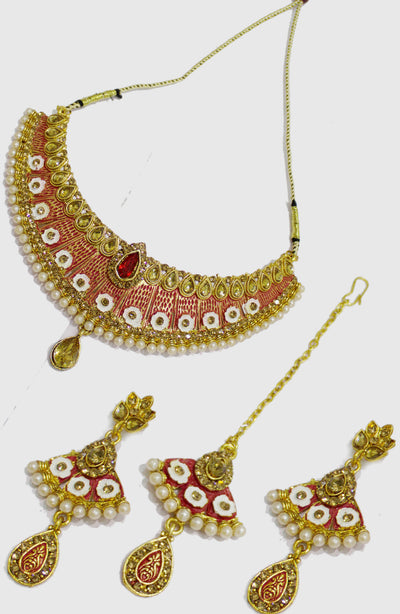 Enamel Platted Stone And Pearl Choker Set