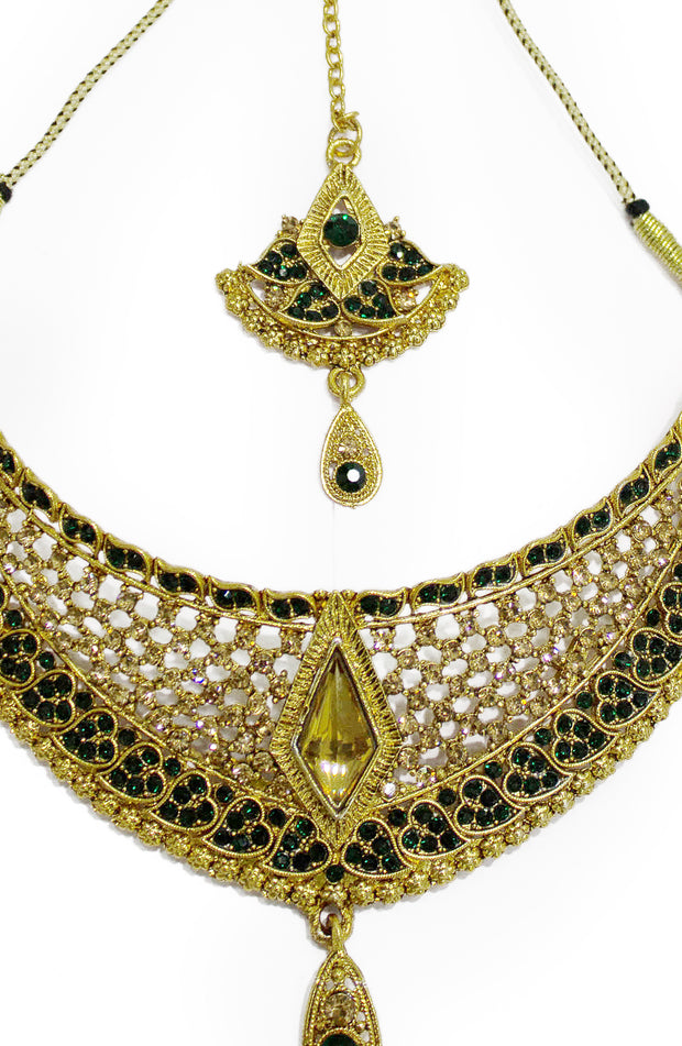 Gold Platted Green Stone Party Wear Choker Set