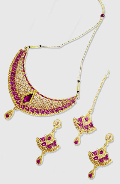 Gold Platted Magenta Stone Party Wear Choker Set