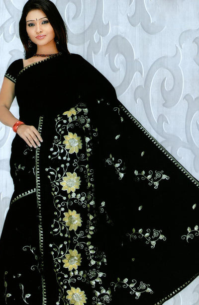 SEQUIN EMBROIDERED CHIFFON SAREE