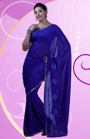 CHIFFON SILVER EMBROIDERED SAREE