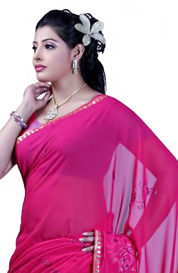 CHIFFON RESHAM EMBROIDERED SAREE