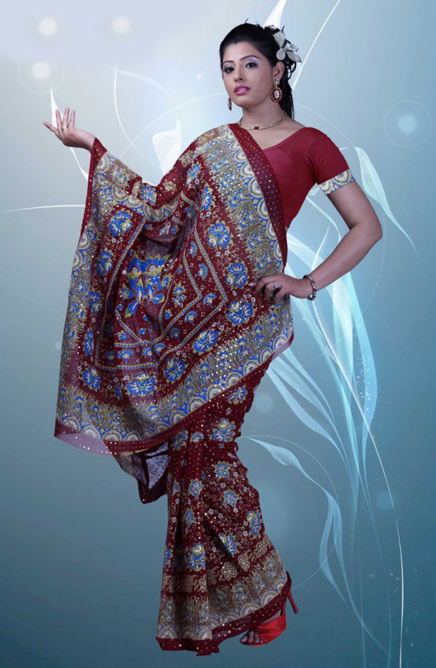 SEQUIN AND KHADI PRINT CHIFFON SAREE