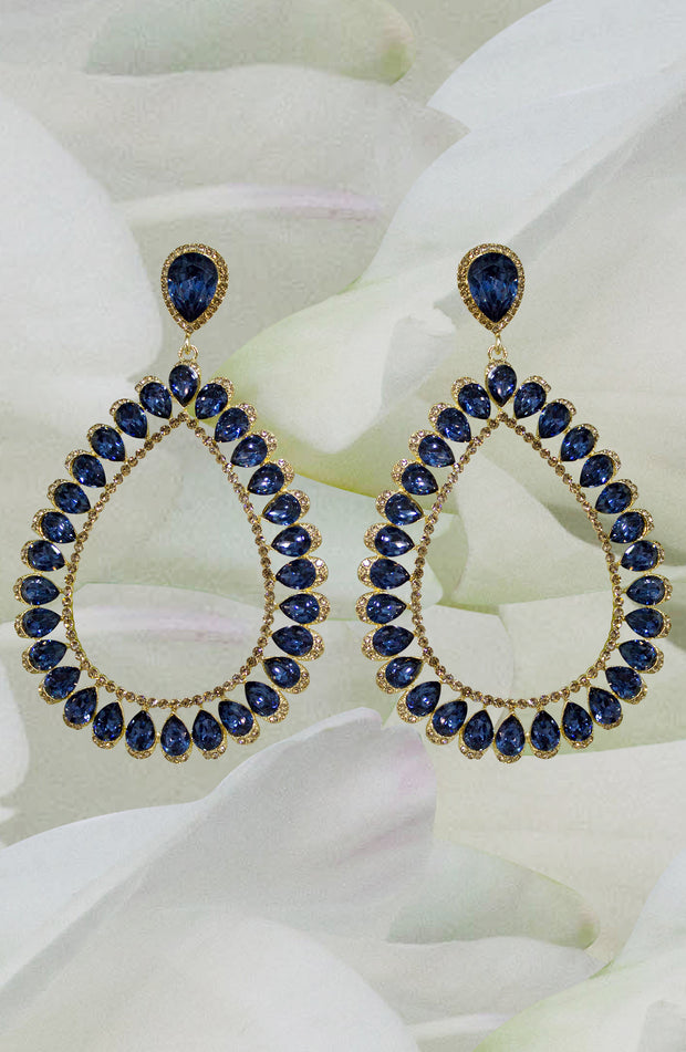 Drop And Dangel Long Blue Earrings