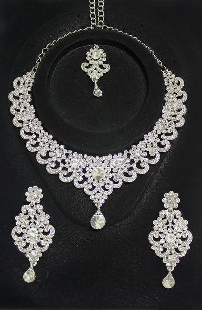 Silver Plated Diamond Set