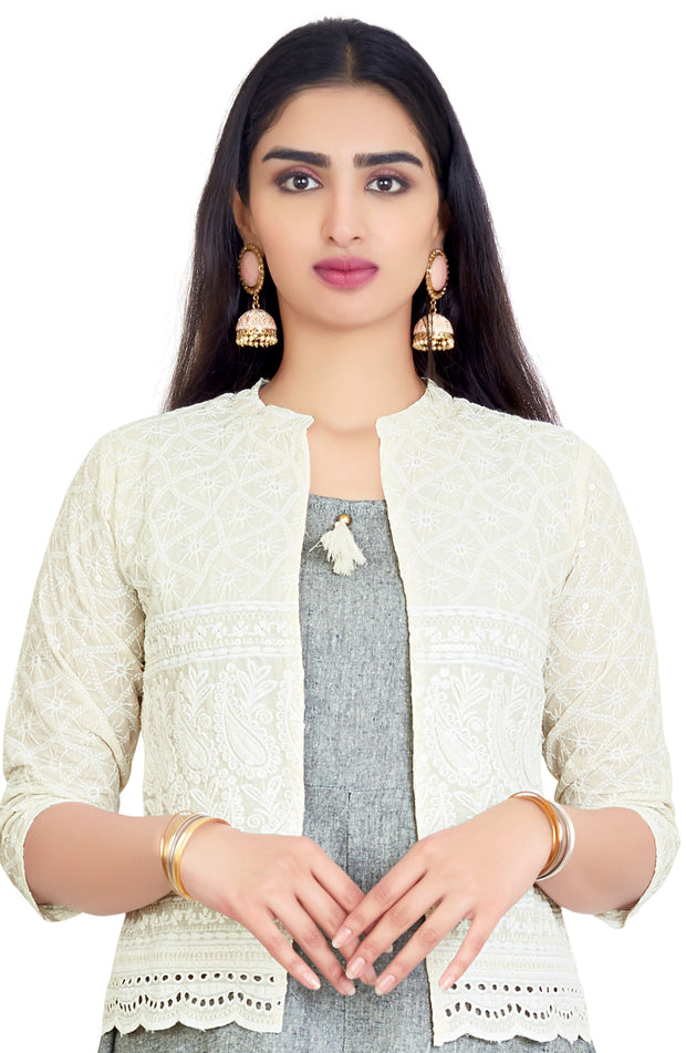 Charcoal Blackish Grey Kurti With Embroidered Jacket