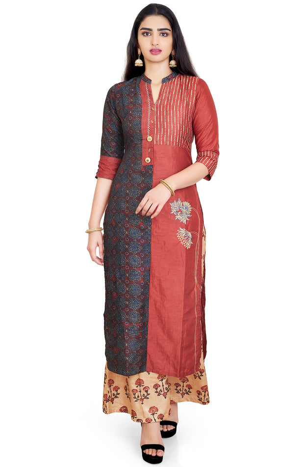 Block Printed Kurta Set With Palazzo