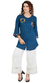 Cross Stitch Motif Linen Cotton Short Kurti