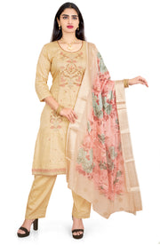 Embroidered Trouser Set With Digital Printed Dupatta