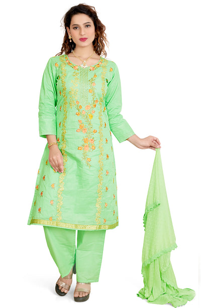 Pure Cotton Embroidered Trouser Set