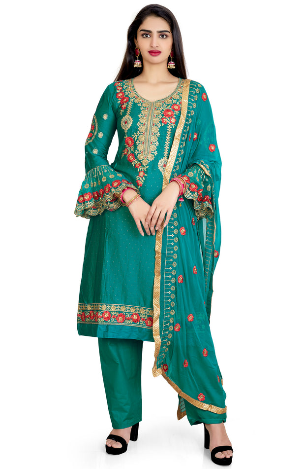 Cotton Silk Embroidered Trouser Set