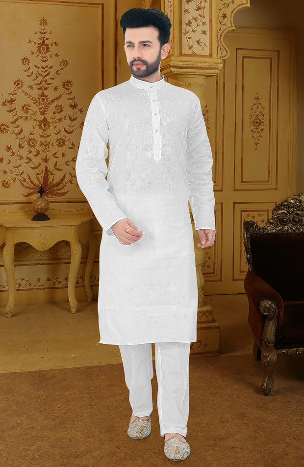 Cotton Linen Thread Work Kurta Pyjama