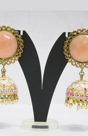 Enameled Plated Peach Jhumkas With Pearls