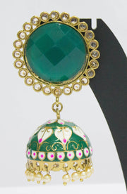 Enameled Plated Green Jhumkas With Pearls