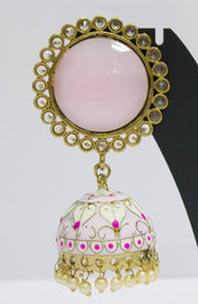 Enameled Plated Baby Pink Jhumkas With Pearls