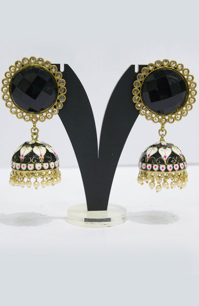 Enameled Plated Black Jhumkas With Pearls