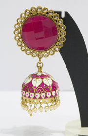 Enameled Plated Magenta Jhumkas With Pearls