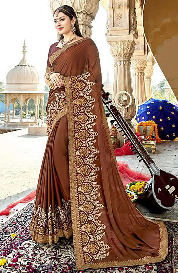 Georgette Art Silk With Aari Pearl Work