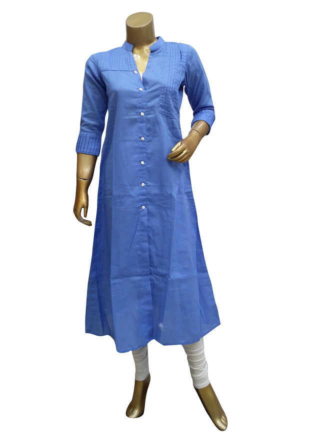 Linen Cotton Mandarin Collar Kurti