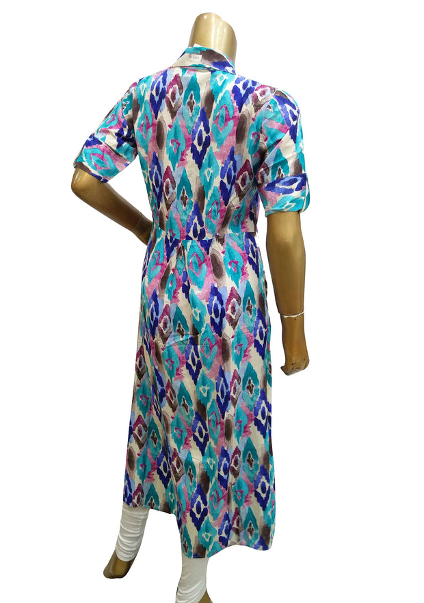Rayon Printed Two Piece Collar Shirt Dress