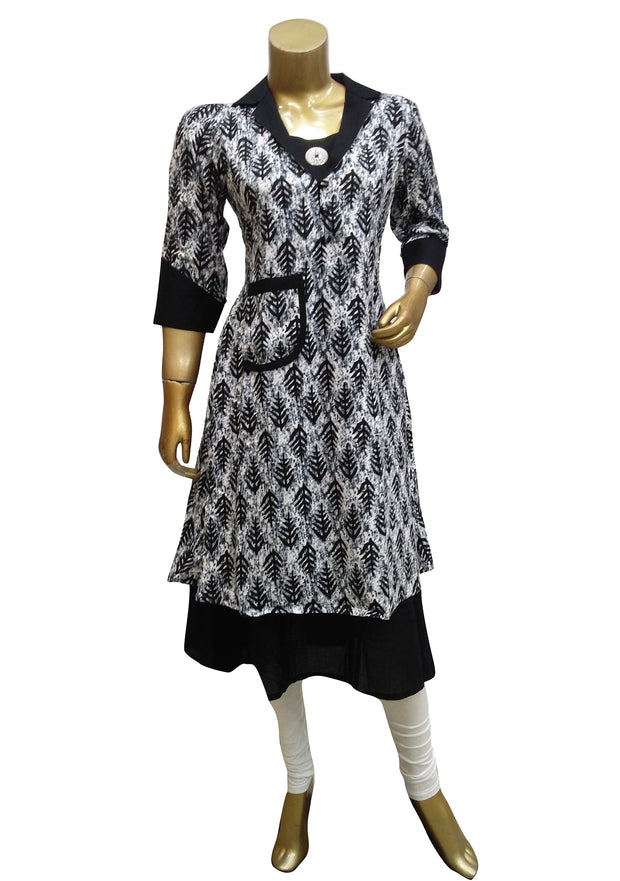 Cotton Printed Shirt Style Dress