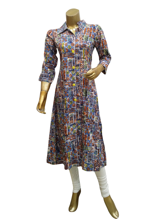 Digital Printed Shirt Style Long Kurti