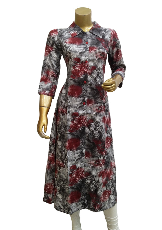 Printed Shirt Collar Style Dress Kurti