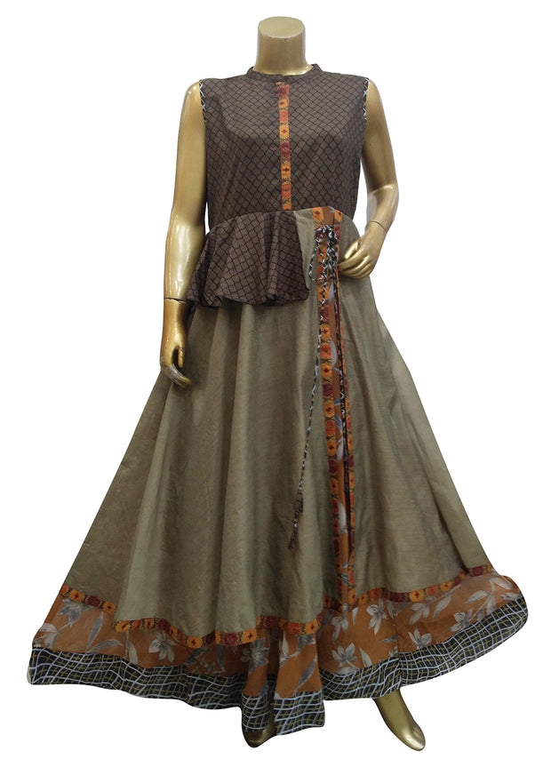 Georgette Printed Long Kurti With Yoke
