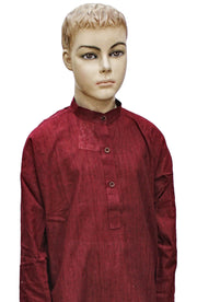 Wine Mangalgiri Cotton Kurta Pyjama