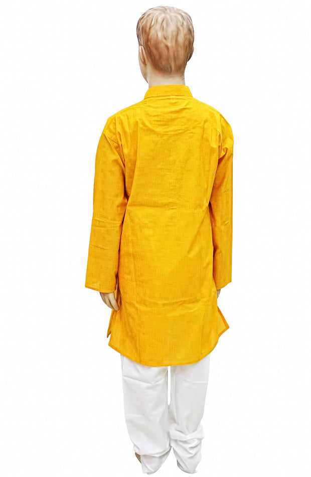 Mustard Yellow Stripe Cotton Kurta Pyjama