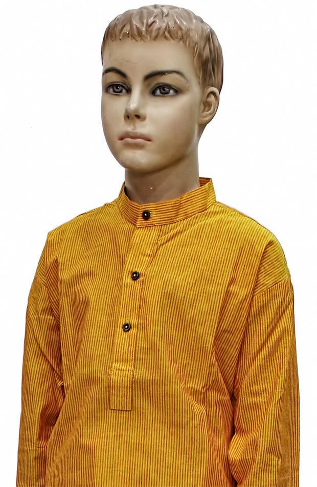 Yellow Mangalgiri Cotton Kurta Pyjama