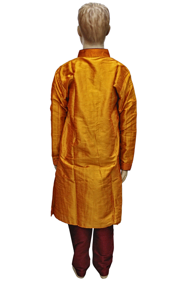 Mustard Art Silk Pleated Panel Kurta With Maroon Pyjama