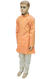 Orange N Cream Code Work Kurta Pyjama